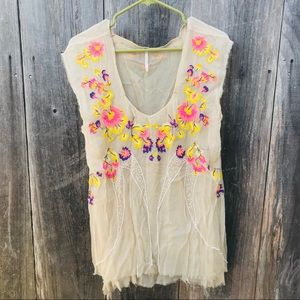 Free people Blouse with embroidered flowers